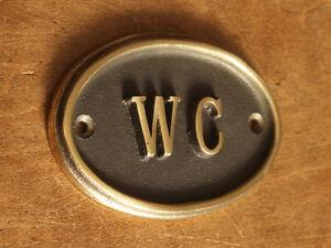 Brass WC Toilet Door Sign Ladies & Gents Bathroom Loo Old Vintage Style (BS-05)