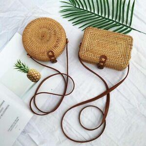 Hand-Woven Women Rattan Bag Straw Purse Handmade Wicker Crossbody Beach New