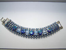 Vintage Juiana Peacock AB Blue and Light Blue Rhinestone Bracelet - Wow! - H-17