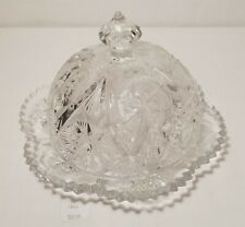 LMAS ~ Cut Pressed Glass Dome Butter Dish w Sawtooth Edge