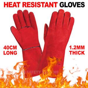 """Premium Leather Welding Gauntlets Heat Resistant 16"""" Long Mig/Tig Welders Gloves"""