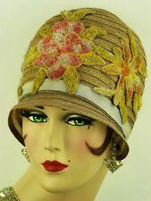 Vintage Hat Orig. 1920s 'Reece' Cloche, Pastel Hues, w Chenille Floral Appliques