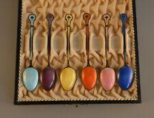 Set 6 Sterling Silver Guilloche Enamel Demitasse Spoons Norne - Aksel Holmsen