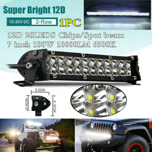 "7"" Super Slim Dual Row 12D Spot Beam LED Work Light Bar 100W 10000LM 6500K Lamp"