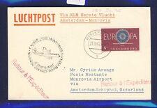 46769) KLM FF Amsterdam - Monrovia Liberia 5.11.60, Karte ab Luxemburg