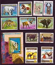 56T5 GUINEE 1 bloc et 11 timbres obliteres Protection de la nature : animaux