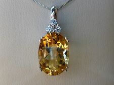 """Large 5ct Yellow Citrine & White Sapphire Necklace Solid 10K Gold- 18"""" Box Chain"""