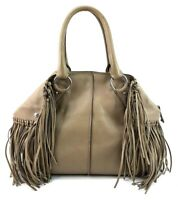 Tods Grey Leather Fringe Purse Tassel Cape Hand Bag Made In Italy
