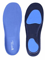 Full length Orthotic Insoles Arch Support Heel Cup pronation flat feet (Blue)