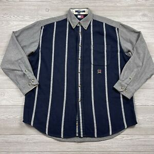 Vintage Tommy Hilfiger Shirt Men's L Wool Big Stitched Logo Flannel Button Bb79