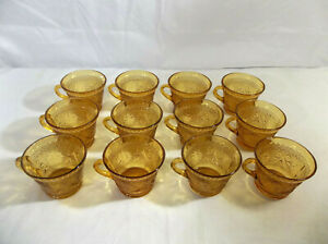 Indiana Glass Set of 12 Amber Tiara Punch or Snack Plate Cups