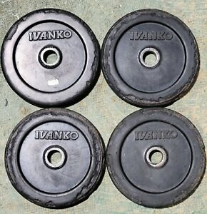 """Ivanko 7.5lb Rubber Coated 1"""" Weight Plates - Select 2-10+ plates -FREE SHIPPING"""