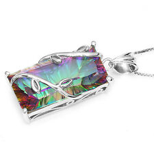 Natural Rainbow Mystic Topaz Vintage Necklaces Pendant Solid 925 Sterling Silver