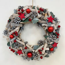 Christmas Red & Wood Wreath