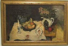 BORIS PASTOUKHOV RUSSIAN / FRANCE STILL LIFE WITH FRUIT AND FLOWERS o/c LISTED