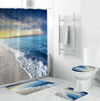 Seaside Bathroom Rug Set Shower Curtain Thick Bath Mat Non-Slip Toilet Lid Cover