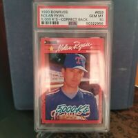 1990 DONRUSS NOLAN RYAN #659 (HOF) 5000K PSA 10 GEM MINT PERFECT BASEBALL CARD
