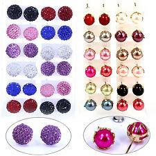 12 Paar Set Ohrstecker Perlen Ohrringe Neu Schwarz Rot Rosa Gelb Blau GUT