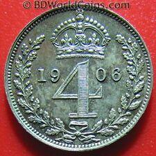 1906 MAUNDY 4 PENCE SILVER PROOF-LIKE FIELDS! KING EDWARD VII ENGLAND BRITISH