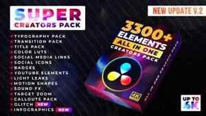 DaVinci Resolve Project Super Creators Pack (3300+ Elements)