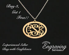 Wood Monogram Necklace with Polished Stainless Steel Chain - Buy 3, Get 1 FREE!!