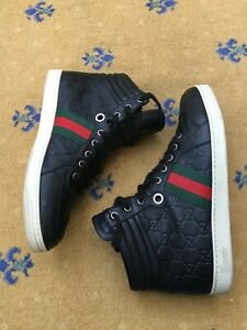 Gucci Mens Trainers Sneaker High Top Black Leather Shoes UK 8.5 US 9.5 42.5 Web