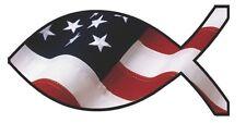 Jesus Fish Christian US American Flag Car/Truck Window Decal Sticker - Set of 3