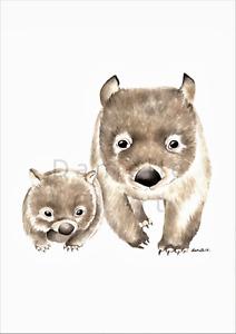 Watercolour Wombat Print - Australian animal prints mother baby art