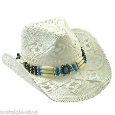 Cowboy Hut Strohhut Tex Mex,Western Hat,Country Mütze Trapper Cap Hawaii weiss