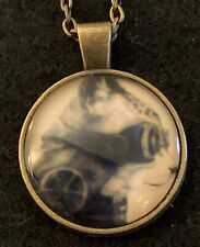 STEAMPUNK CAT Necklace NEW Domed Cabochon w/ chain (A) Bronze tone