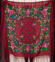 Russian shawl. Vintage Floral scarf foulard chale russe. Mantón Gift for her