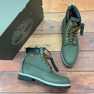 Timberland Men's Premium 6 Inch Helcor Leather Dark Green Boots A2NBA