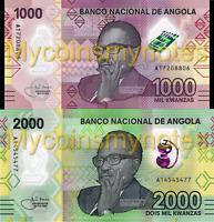ANGOLA, 1000, 2000 Kwanzas, Polymer, 2020 Prefix A, UNC