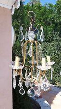 Superbe lustre bronze et plaquettes de cristal grosse boule cristal