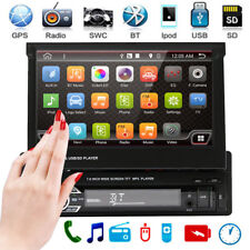 "Single 1 DIN 7"" HD Flip Up GPS Nav Touch Car Stereo Radio MP5 Player Mirror Link"
