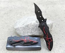 Black Red Batman Dark Knight Spring Assisted Pocket Knife Fast Easy Opening