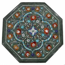 """12"""" green marble side carnelian stone inlay work table top marquetry work"""