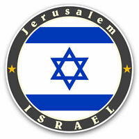 2 x Vinyl Stickers 10cm - Jerusalem Israel Flag Map Travel Cool Gift #5618