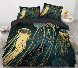 3D Blue Jellyfish ZHUB915 Bed Pillowcases Quilt Duvet Cover Queen King Amy