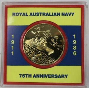 Australia: 1911-1986 75th Anniversary of the Navy gold gilt medal Cased