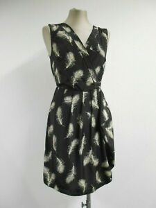 Soaked in luxury dress black with white feathers, asymmetric design XS UK8/10