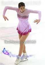 Pink Ice Figure Skating Dress Baton Twirling Dance Dress Custom Competition x242