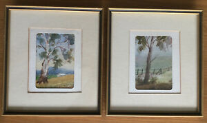 E M Barnes Signed Vintage Pair Small Water Colour Paintings Glass Framed