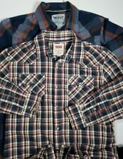 2 Levis Men's Pearl Snap Button Shirt S Small Plaid Cotton Polyester Western EUC