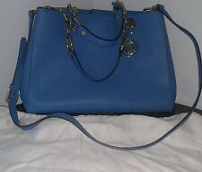 Michael Kors MK Cynthia Small NS Leather Satchel Bag Purse BLUE GOLD