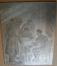 Russian Soviet USSR etching engraving Metal Red Army soldier realism figure