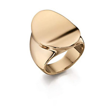 Fiorelli 9K Gold Plated Concaved Signet Ring - Size R 9 U.S. Unisex