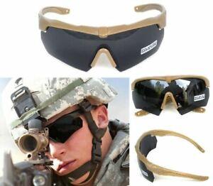 ANSI Z87.1 Tactical Military Ballistic Shooting Khaki Sunglasses 3 Color Lenses