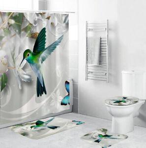 Hummingbird Bathroom Rug Set Shower Curtain Bath Mat Non-Slip Toilet Lid Cover