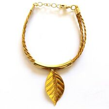 CAPIM ORO VEGETABLE GOLD BRACELET GOLD PLATED LEAF SHAPE THREE STRAND ADJUSTABLE